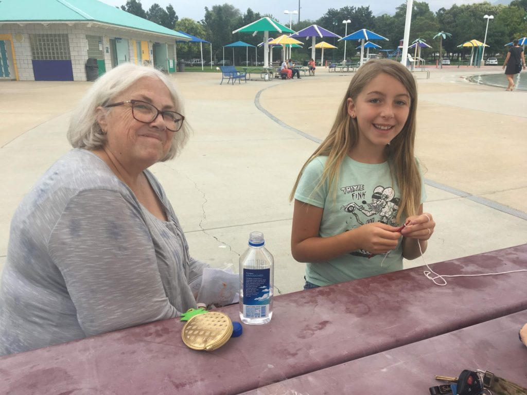 Grandma Hite Helping Karen Crochet