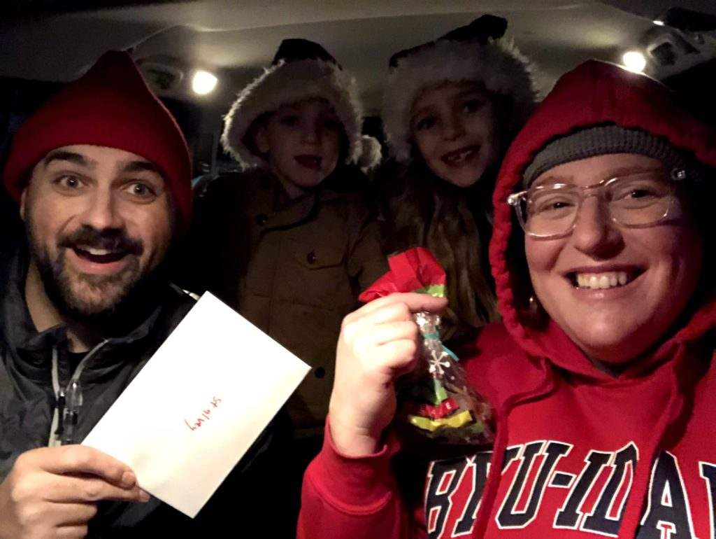 Delivering Christmas Treats and Cards to our Neighbors