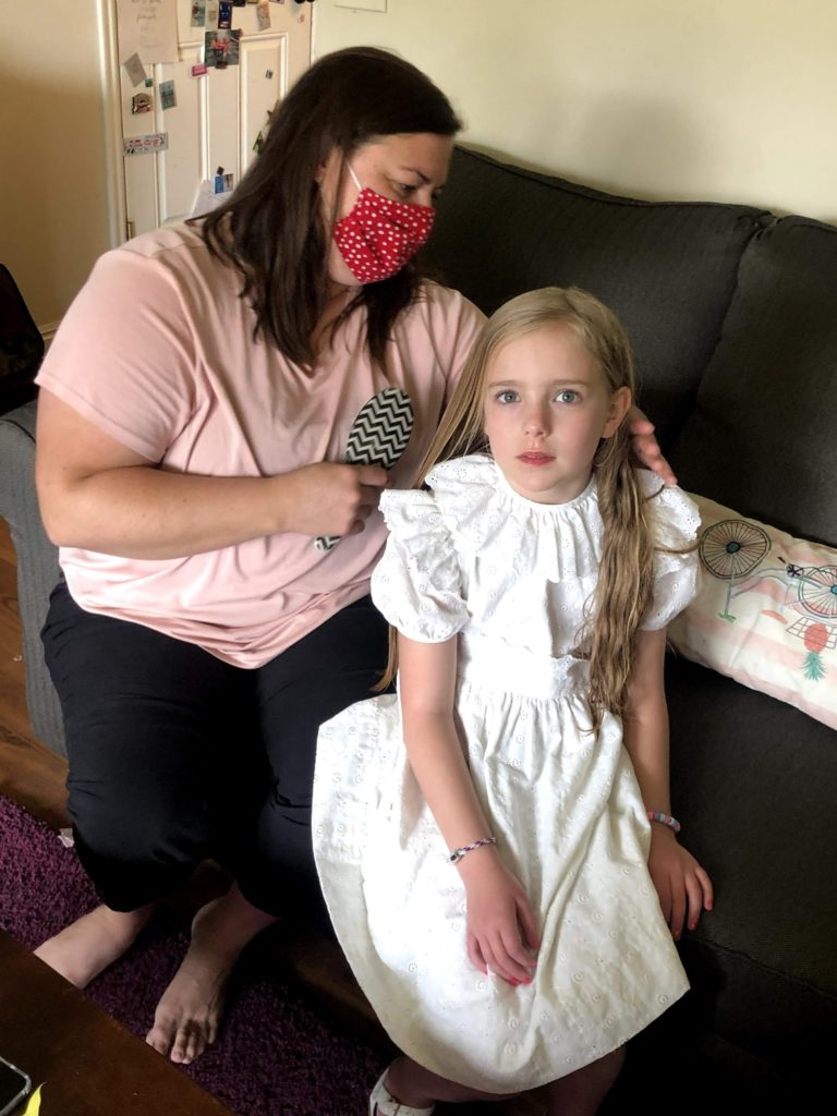 Mirah's 8th Birthday: Krysta Braiding Her Hair