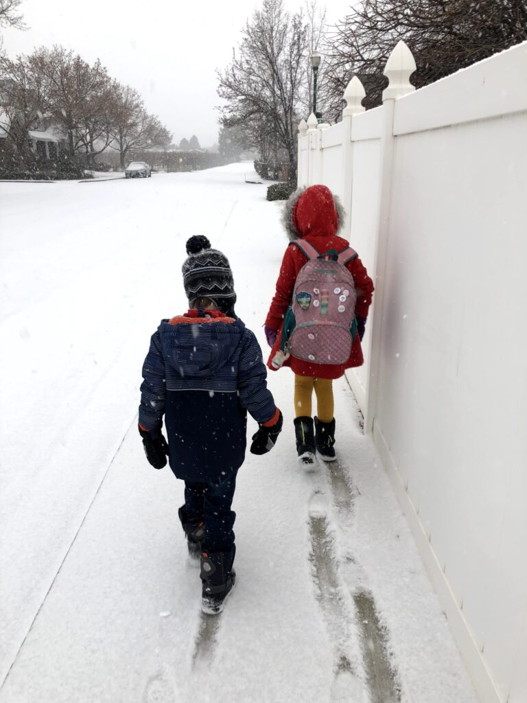 Walking to School from our New House! In the Snow!